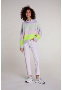 Wielokolorowy sweter z długim rękawem, z golfem, długi