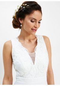 Sukienka szyfonowa z cekinami bonprix biel wełny. Okazja: na wesele, na ślub cywilny. Typ kołnierza: dekolt gorset. Kolor: biały. Materiał: szyfon, wełna. Typ sukienki: gorsetowe. Styl: elegancki