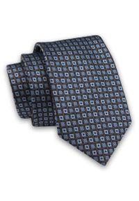 Niebiesko-Brązowy Elegancki Klasyczny Męski Krawat -Angelo di Monti- 7 cm, Wzór Geometryczny. Kolor: niebieski, beżowy, brązowy, wielokolorowy. Materiał: tkanina. Wzór: geometria. Styl: klasyczny, elegancki