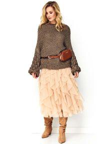 Sweter oversize Makadamia casualowy, na co dzień