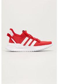 Czerwone buty sportowe adidas Originals do biegania, z okrągłym noskiem, z cholewką, na sznurówki
