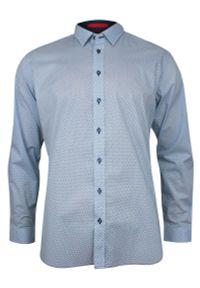 Niebieska elegancka koszula Rey Jay w geometryczne wzory, z długim rękawem, długa