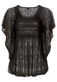 Czarna bluzka bonprix na lato, w koronkowe wzory