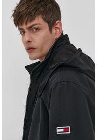 Czarna kurtka Tommy Jeans gładkie, z kapturem