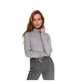 Szary sweter TOP SECRET długi, z długim rękawem, z golfem