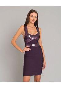HERVE LEGER - Sukienka mini z cekinami. Kolor: różowy, fioletowy, wielokolorowy. Materiał: materiał. Wzór: paski, aplikacja. Typ sukienki: dopasowane. Długość: mini
