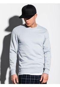Ombre Clothing - Bluza męska bez kaptura B978 - srebrna - XXL. Okazja: na co dzień. Typ kołnierza: bez kaptura. Kolor: srebrny. Materiał: materiał, bawełna, poliester. Styl: casual, klasyczny