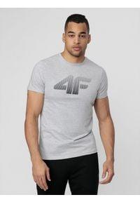 4f - T-shirt męski. Kolor: szary