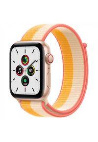 APPLE - Smartwatch Apple Watch SE GPS+Cellular 40mm aluminium, złoty | żółto biała opaska sportowa. Rodzaj zegarka: smartwatch. Kolor: biały, złoty, żółty, wielokolorowy. Styl: sportowy