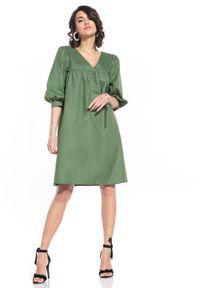 Tessita - Midi Sukienka z Bufiastym Rękawem - Zileona. Materiał: bawełna. Długość: midi