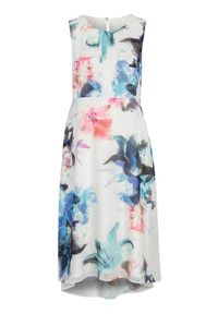 Biała sukienka Cellbes na lato, w kwiaty, bez rękawów, z dekoltem woda