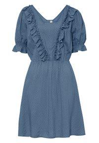 Niebieska sukienka bonprix z krótkim rękawem, w grochy
