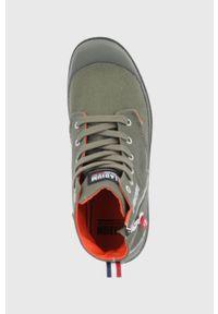 Palladium - Trampki. Nosek buta: okrągły. Zapięcie: sznurówki. Kolor: zielony