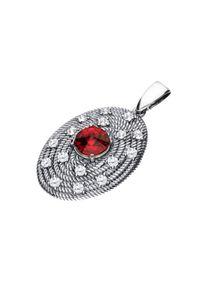 Polcarat Design - Srebrny oksydowany wisiorek z kryształem Swarovski W 1996. Materiał: srebrne. Kolor: srebrny. Kamień szlachetny: kryształ