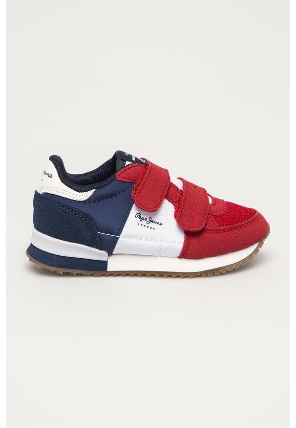 Czerwone buty sportowe Pepe Jeans na rzepy, z cholewką, z okrągłym noskiem