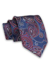 Granatowo-Czerwony Męski Krawat -Chattier- 8 cm, Klasyczny, Elegancki, Wzór Orientalny. Kolor: niebieski, czerwony, wielokolorowy. Materiał: tkanina. Styl: klasyczny, elegancki
