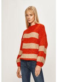 Pomarańczowy sweter only na co dzień, z okrągłym kołnierzem, casualowy