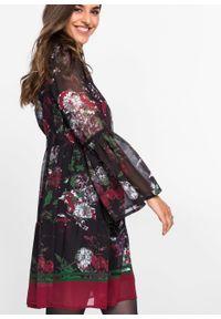 Sukienka bonprix czarny z nadrukiem. Kolor: czarny. Materiał: materiał. Długość rękawa: długi rękaw. Wzór: nadruk. Styl: boho