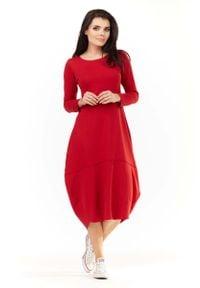 Awama - Czerwona Dzianinowa Midi Sukienka Bombka z Długim Rękawem. Kolor: czerwony. Materiał: dzianina. Długość rękawa: długi rękaw. Typ sukienki: bombki. Długość: midi