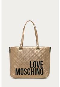 Złota shopperka Love Moschino na ramię, z nadrukiem