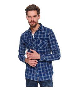 TOP SECRET - Koszula długi rękaw męska slim fit. Kolor: niebieski. Materiał: bawełna. Długość rękawa: długi rękaw. Długość: długie. Sezon: wiosna. Styl: klasyczny