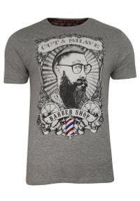 Szary Bawełniany T-Shirt Męski -Brave Soul- Koszulka, Krótki Rękaw, Barber, Brodacz, Fryzjer. Okazja: na co dzień. Kolor: szary. Materiał: bawełna, wiskoza. Długość rękawa: krótki rękaw. Długość: krótkie. Wzór: nadruk. Sezon: lato, wiosna. Styl: casual