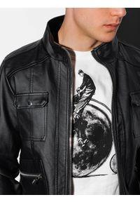 Ombre Clothing - Ramoneska męska C415 - czarna - XXL. Typ kołnierza: kołnierzyk stójkowy, kaptur. Kolor: czarny. Materiał: dresówka, poliester