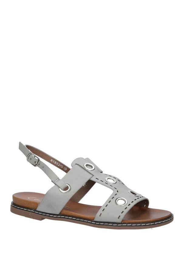 Szare sandały Casu na lato, klasyczne, w kolorowe wzory