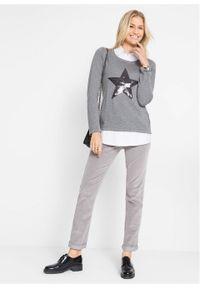 Szary sweter bonprix z długim rękawem, długi, z nadrukiem