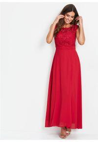 Długa sukienka wieczorowa z koronką bonprix czerwony. Kolor: czerwony. Materiał: koronka. Wzór: koronka. Styl: wizytowy. Długość: maxi