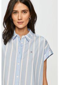 Niebieska koszula Tommy Jeans casualowa, z krótkim rękawem, krótka, na co dzień