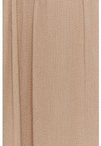 Vila - Sukienka. Kolor: beżowy. Materiał: tkanina. Długość rękawa: na ramiączkach. Typ sukienki: rozkloszowane