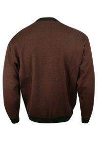 Max Sheldon - Sweter Brązowy, w Kratkę Okrągły Dekolt (U-neck), Męski - MAX SHELDON. Kolor: brązowy, wielokolorowy, beżowy. Materiał: akryl, bawełna. Wzór: kratka. Sezon: jesień, zima. Styl: klasyczny
