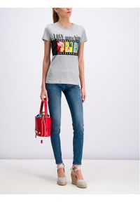 Love Moschino - LOVE MOSCHINO T-Shirt W4F7347M 3517 Szary Regular Fit. Kolor: szary