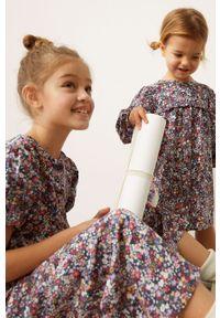 Czarna sukienka Mango Kids w kwiaty, casualowa, mini, prosta