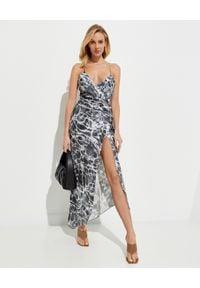 SER.O.YA - Sukienka z jedwabiu Emma. Kolor: szary. Materiał: jedwab. Długość rękawa: na ramiączkach. Sezon: lato. Typ sukienki: asymetryczne