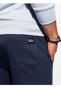 Ombre Clothing - Spodnie męskie dresowe joggery P867 - granatowe - XXL. Kolor: niebieski. Materiał: dresówka
