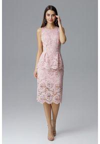 e-margeritka - Koronkowa ołówkowa sukienka bez rękawów różowa - xl. Okazja: na sylwestra, na wesele, na ślub cywilny, na imprezę. Kolor: różowy. Materiał: koronka. Długość rękawa: bez rękawów. Wzór: koronka, aplikacja. Typ sukienki: ołówkowe. Styl: elegancki