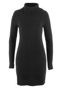 Czarna sukienka bonprix z golfem, z długim rękawem