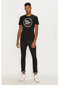Czarny t-shirt Tom Tailor Denim z okrągłym kołnierzem, z nadrukiem, casualowy