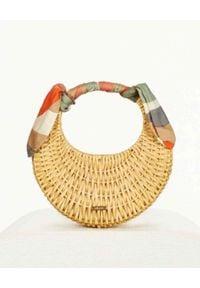 CULT GAIA - Beżowa torba z jedwabnym szalem Taja. Kolor: czarny. Wzór: aplikacja