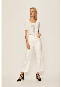 Białe jeansy Pinko w kolorowe wzory