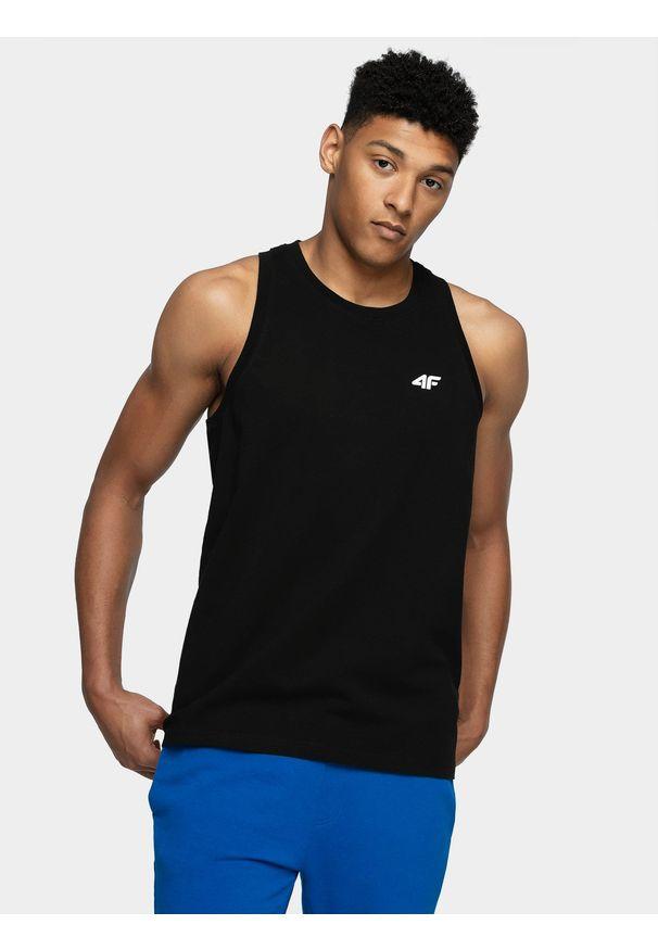 4f - Koszulka bez rękawów męska. Kolor: czarny. Materiał: bawełna. Długość rękawa: bez rękawów