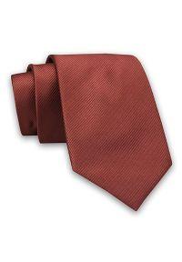 Miedziany Elegancki Klasyczny Męski Krawat -Angelo di Monti- 7 cm, Jednokolorowy, w Delikatne Prążki. Kolor: brązowy. Materiał: tkanina. Wzór: prążki. Styl: klasyczny, elegancki