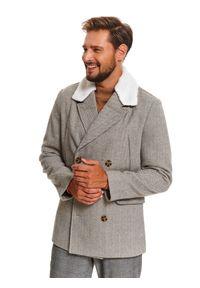 TOP SECRET - Płaszcz typu bosmanka ze sztucznym futrem. Kolor: szary. Materiał: futro. Długość: krótkie. Wzór: jodełka. Sezon: zima. Styl: klasyczny, wizytowy, elegancki #6