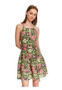 TOP SECRET - Sukienka mini w kwiaty, z dekoltem halter. Typ kołnierza: dekolt halter. Kolor: brązowy. Materiał: tkanina. Długość rękawa: na ramiączkach. Wzór: kwiaty. Sezon: lato. Styl: wakacyjny. Długość: mini