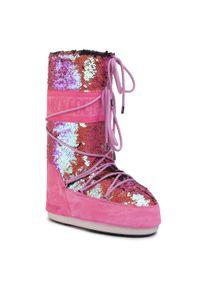 Różowe śniegowce Moon Boot na zimę, z cholewką