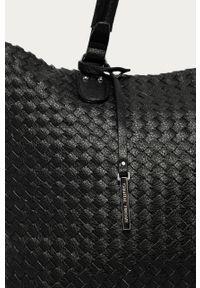 Czarna shopperka Answear Lab gładkie, wakacyjna, skórzana, duża