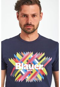 Blauer - T-SHIRT BLAUER. Materiał: bawełna, jersey. Długość: krótkie. Wzór: nadruk, kolorowy