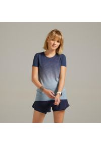 KIPRUN - Koszulka Do Biegania Kiprun Care Damska. Kolor: szary, niebieski, wielokolorowy. Materiał: poliester, materiał, poliamid. Wzór: ze splotem